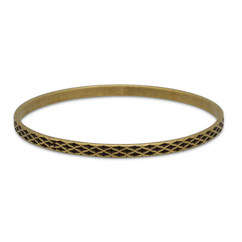 Oxidized Brass Bangle with Weave Design