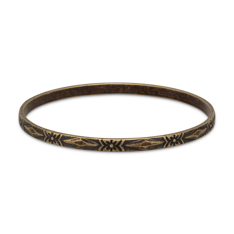 Oxidized Brass Bangle with Floral Design