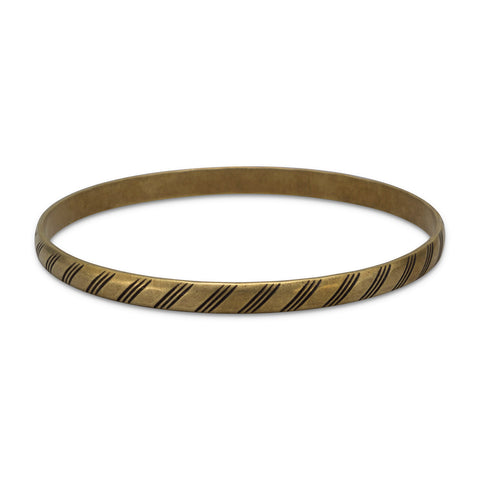 Oxidized Brass Bangle with Lined Design