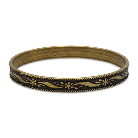 Oxidized Brass Bangle with Rope Edge