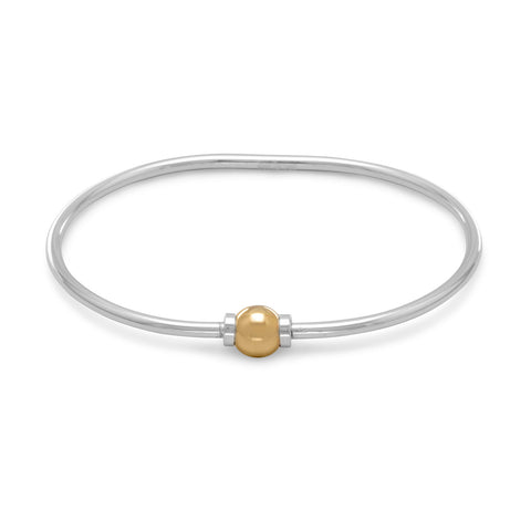 "7.5"" Two Tone Add A Charm Bangle"