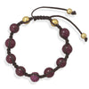 Adjustable Macrame Bracelet with Glass and CZ Beads