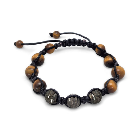 Adjustable Macrame Bracelet with Tiger's Eye Beads