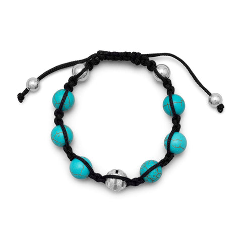 Adjustable Macrame Bracelet with Reconstituted Turquoise Beads