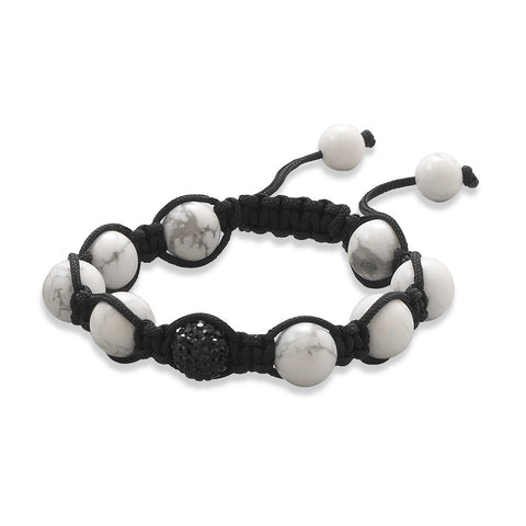 Adjustable Macrame Bracelet with Howlite and Crystal Beads
