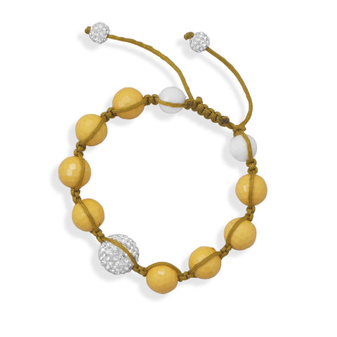 Adjustable Macrame and Yellow Bead Bracelet