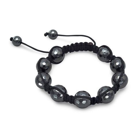 Adjustable Macrame and Hematite Bead Bracelet