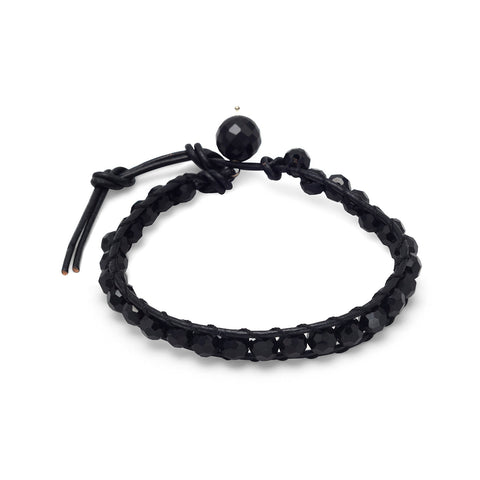 "7""+1"" Black Leather and Crystal Bracelet"