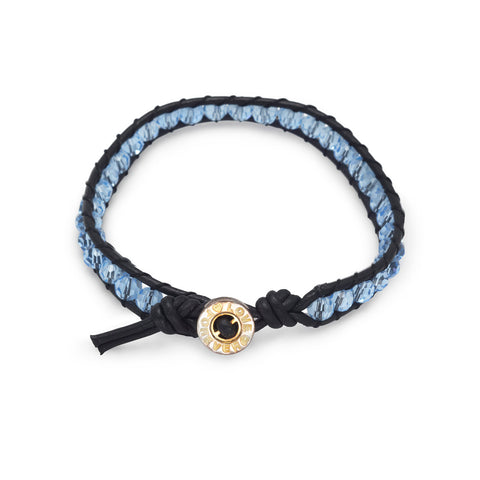 "7"" Leather and Blue Crystal Bracelet"