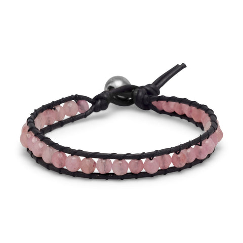 "7"" Leather and Pink Quartz Bracelet"