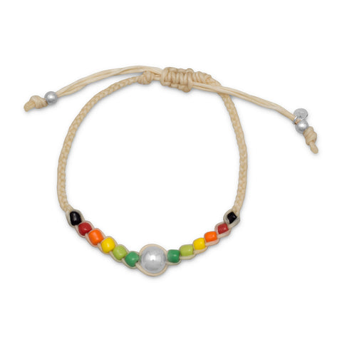 Adjustable Cord Multicolor Bead Bracelet