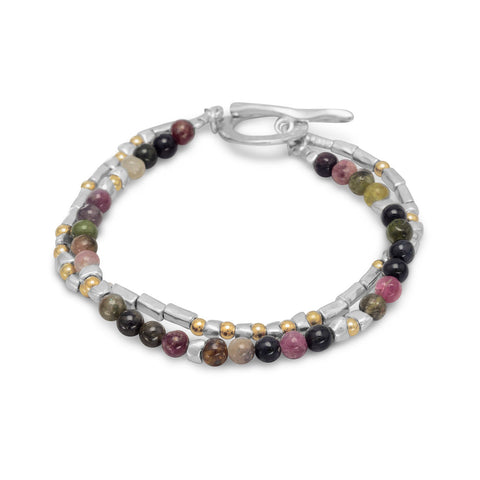 "7.5"" Two Tone Toggle Bracelet with Tourmaline Beads"