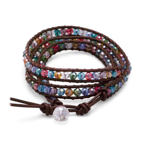 "21"" Multicolor Crystal Wrap Fashion Bracelet"