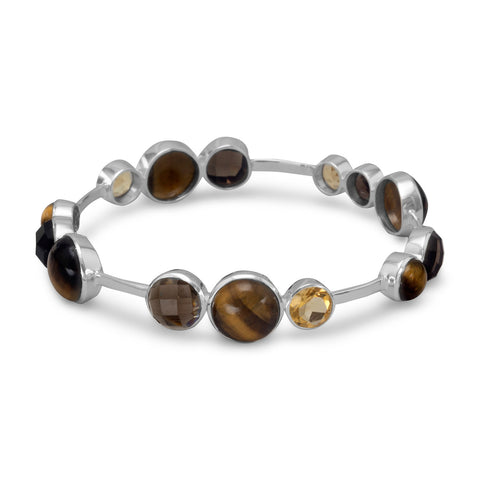 Tiger's Eye, Quartz and Citrine Stackable Bangle