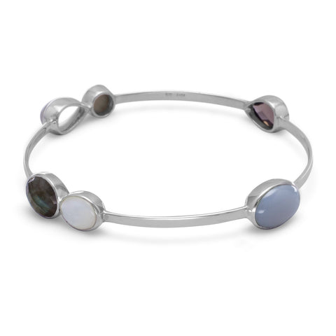 Labradorite, Mother of Pearl, Moonstone and Smoky Quartz Stackable Bangle