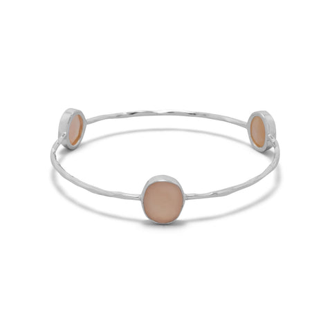 Moonstone Hammered Bangle Bracelet