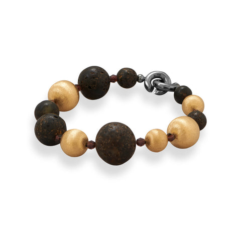"8.5"" Baltic Amber and 14 Karat Gold Plated Bead Bracelet"
