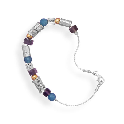 "7.5"" Bracelet with Amethyst, Agate and 12/20 Gold Filled Beads"