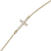 "7"" + 1"" 14 Karat Gold Plated Bracelet with CZ Sideways Cross"
