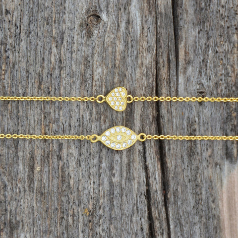 "6"" + 1"" 14 Karat Gold Plated CZ Heart Bracelet"
