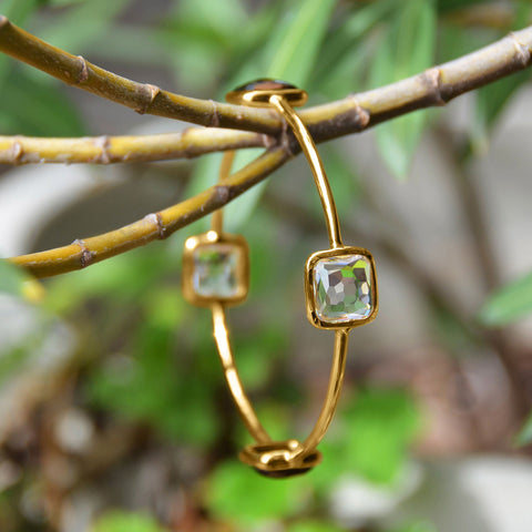 Vermeil Freeform Faceted 4 Stone Bangle