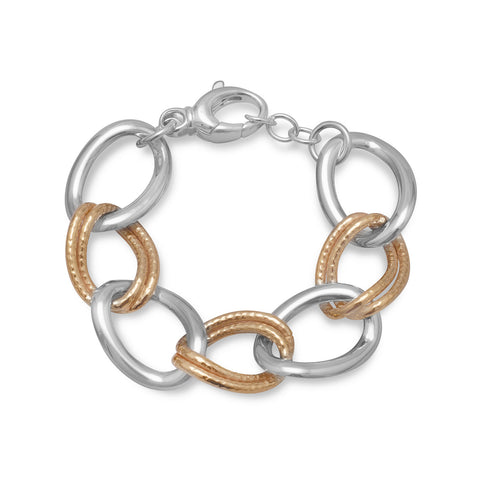 Two Tone Large Hollow Link Bracelet