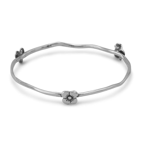 Oxidized Flower Bangle Bracelet