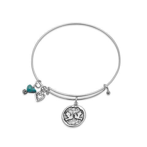 Expandable Multicharm Love Bangle Bracelet