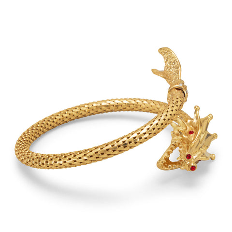 14 Karat Gold Plated Dragon Wrap Bangle