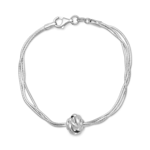 Rhodium Plated Multistrand Bracelet with Lantern Bead