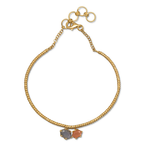14 Karat Gold Plated Multistone Drop Bracelet