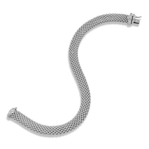 Rhodium Plated Hollow Beaded Mesh Bracelet