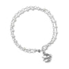 Double Strand Bracelet with Cultured Freshwater Pearls and Bird Charm