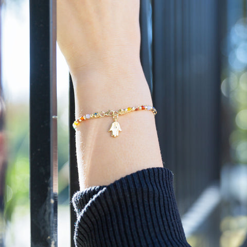 Double Strand 14 Karat Gold Plated Multistone Bracelet with Hamsa Charm