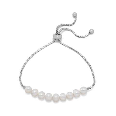 Rhodium Plated Cultured Freshwater Pearl Bolo Bracelet