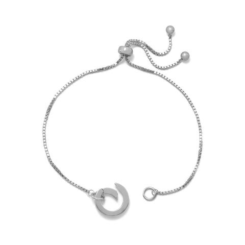 Rhodium Plated Adjustable Circle Hinge Charm Capable Bolo Bracelet