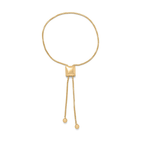 14 Karat Gold Plated  Adjustable Round Box Chain Bolo Bracelet