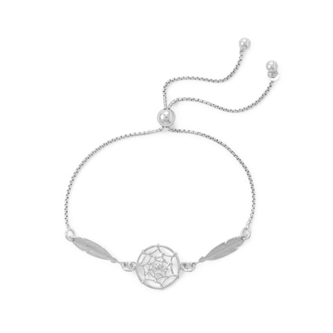 Rhodium Plated Dream Catcher Bolo Bracelet
