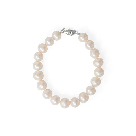 "8"" Rhodium Plated Cultured Freshwater Pearl Bracelet"