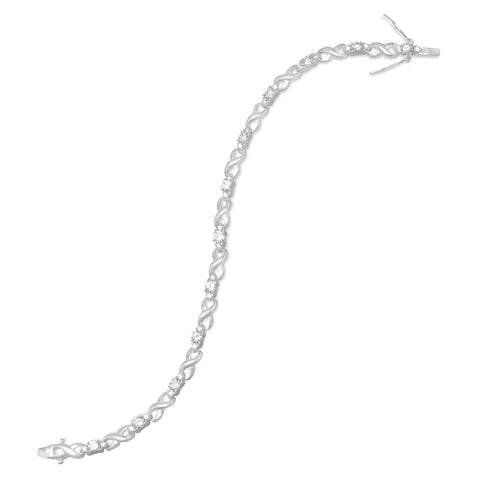 "7.25"" CZ with ""X"" Tennis Bracelet"
