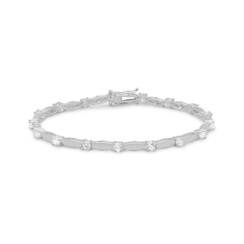 "7.5"" 3mm CZ with Silver  Bars Bracelet"