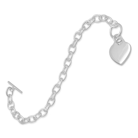 "7.5"" Toggle Bracelet with Small Heart Tag"