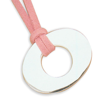 "16""+2"" Extension Polished Oval Ring with Pink Suede"