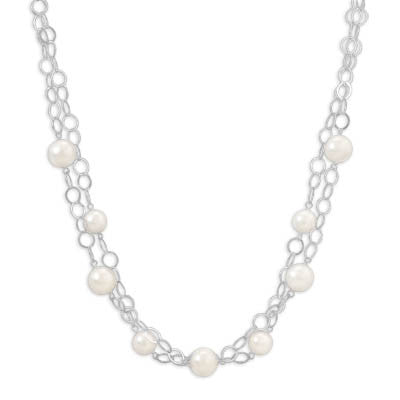 "16""+2"" Extension Double Strand White Glass Pearl Necklace"