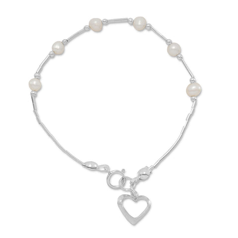 "6"" Cultured Freshwater Pearl Bracelet with Open Heart Drop"