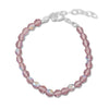 "5"" + 1"" Extension Pink Czech Glass Bead Bracelet"
