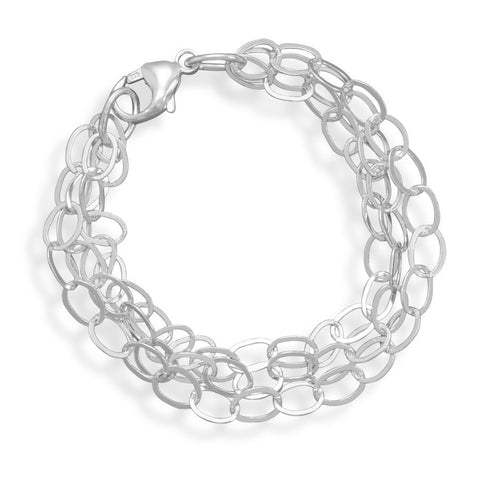"7"" Polished 3 Strand Oval Link Bracelet"