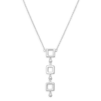 "18"" 3 Open Square and 3 Beads Necklace"