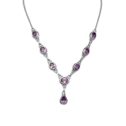 "15""+1"" Extension Oval and Pear Shape Amethyst Necklace"