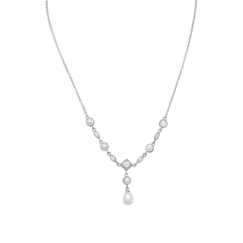 "16"" Rhodium Plated Cultured Freshwater Pearl & Marquise/Round CZ Necklace"